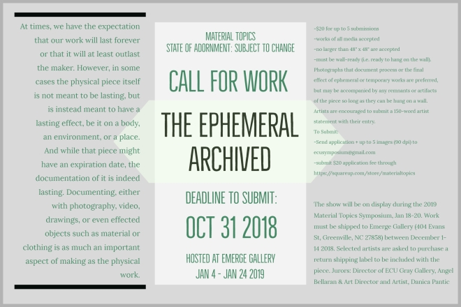 The Ephemeral Archived Call For Work